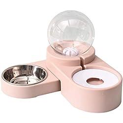XXDYF Distributeur d'eau pour Chiens Chat avec Gamelle Amovible d'animal Bouteille Automatique d'eau, 2 en 1 Gamelle Amovible, 1.8L,Pink1