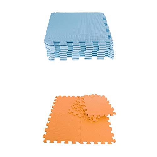 Fenteer 18 Stücke Eva Soft Foam Boden Spielmatten Puzzlematte Teilige Kinderspielteppich Spielmatte Spielteppich Schaumstoffmatte Kinderteppich - Blau + Orange