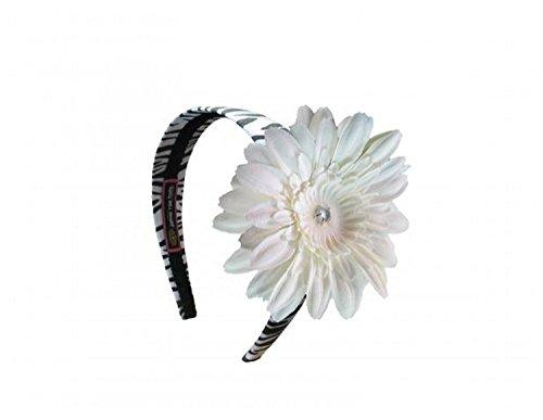 Jamie Rae Hats Zebra Hard Headband with White Daisy, One Size Jamie Rae Zebra