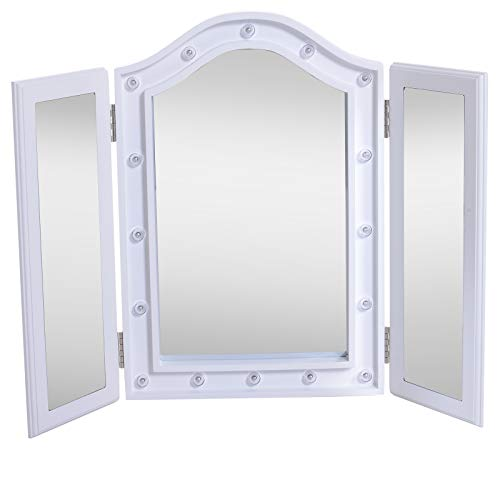HOMCOM Espejo Maquillaje Luz LED Plegable Espejo Triple