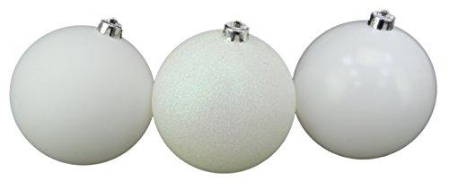 Christmas concepts® confezione da 3 - bagattelle extra large da 150mm per albero di natale - baubles decorati lucidi, opachi e glitterati (bianco)