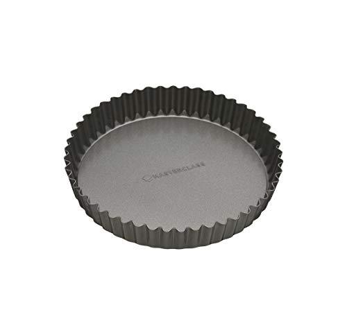 Master Class Antihaft-Tortenbodenform/Quicheform mit gewelltem Rand und losem Boden, Stahl, Grau, 18 x 18 x 3.3 cm