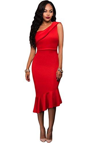 nuovo-da-donna-rosso-una-spalla-ruffle-midi-vestito-da-sera-abito-casual-party-taglia-m-uk-10-12-eu-