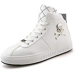YAN Calzado de Hombre zapatos de microfibra alto y top casuales con cordones de calavera