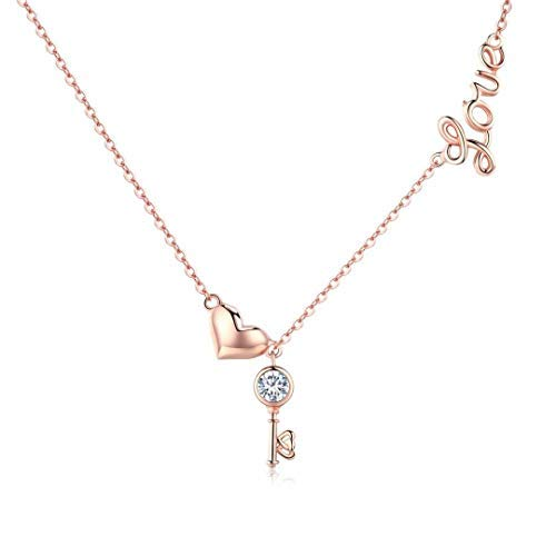 Qings Rosegold Kette Damen 925 Sterling Silber Halskette mit Anhänger Love,Herz,Zirkonia Schlüssel,Kette Schmuck für Frauen