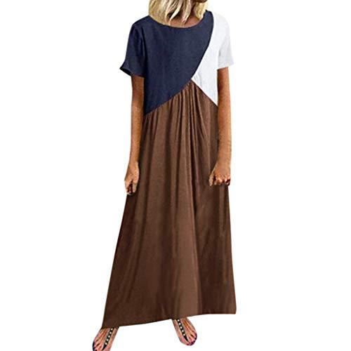 CUTUDE Damen Kleider Röcke Kurzarm Sommerkleider Frauen Freizeit Spleißendes Kurzschluss Hülsen Runder Rundhals Loses Strandkleid Maxi-Kleid (Braun, XXXXX-Large)