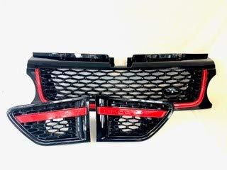 Zunsport Kompatibel mit Range Rover Sport (L320), schwarz glänzender Grill mit rotfarbenem Metallgitter, 3-teiliges Set (2010-2013)
