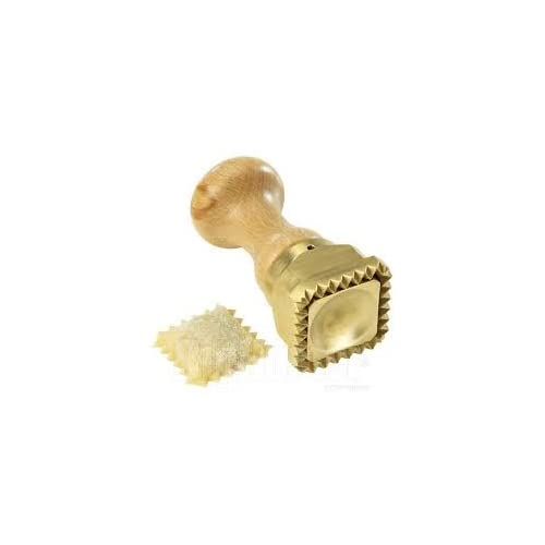 LaGondola Professional Ravioli Stamp in Brass and Natural Wood 45x 55 mm Made in Italy