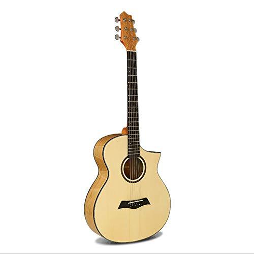 Boll-ATur 40-Zoll-Akustikgitarren Fichte handgefertigt Massivholz Akustik Cutaway Guitar Beginner Kit mit Gig Bag, Stimmgerät, Saiten, Picks, Gurt,