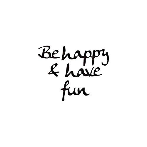 AC-Déco Sticker Miroir - Be Happy and Have Fun - 25 x 25 cm - Acrylique - Noir