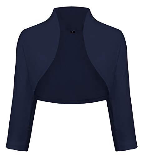 TrendiMax Damen Eleganter Bolero Jacke Schulterjacke Kurzes Jäckchen 3/4 Ärmel, Dunkelblau, M