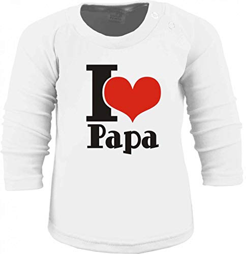 KLEINER FRATZ T-Shirt à Manches Longues pour Enfant I Love Papa/Taille 60-152 - Blanc - 3 Ans