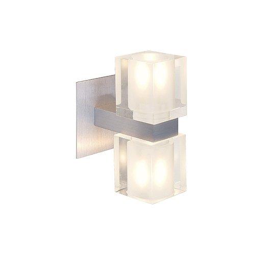 Lampada SLV Koko II muro, alto / basso, alluminio spazzolato,