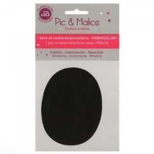 2 Coudières Thermocollantes Noires de 7,5x9,5 cm