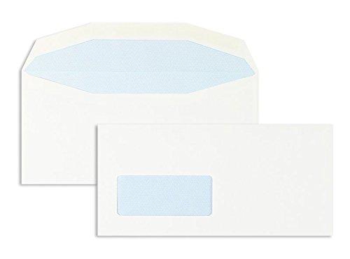 Briefhüllen | Premium | 111 x 232 mm mit Fenster | Weiß (1000 Stück) Nassklebung | Briefhüllen, Kuverts, Couverts, Umschläge mit 2 Jahren Zufriedenheitsgarantie