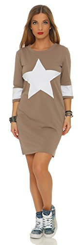 Mr. Shine Damen Frauen Herbst Spring Langarm Fashion Long Shirt Kleid mit Stern Patch Bleistiftkleid Pulloverkleid Abendkleid Minikleider Cappuccino