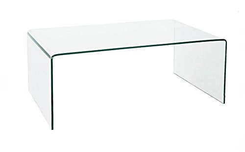 designement Table Basse Verre Transparent 100 x 60 x 40 cm
