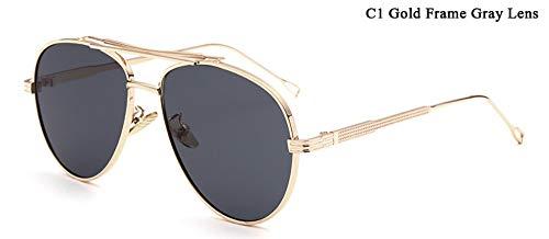WDDYYBF Sonnenbrillen, Piloten Sonnenbrille Männer Reflektierende Gespiegelt Aviation Sonnenbrille Männlich DREI Strahlen Schattierungen Brillen Uv400 Graue Linse