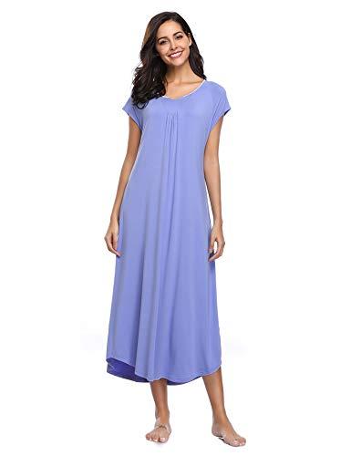 Lusofie Lange Nachthemd Damen V-Ausschnitt Lose Modal Nachtwäsche Überwurfhülse Nachtkleid mit Augenmaske (Violett, XS) -
