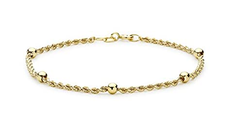 Carissima Gold 9ct Yellow Gold Ball and Rope Bracelet of 18cm/7