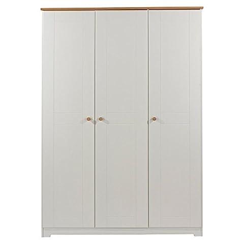 Core Products 3 Door Wardrobe with Oak Veneered Tops, Wood, Soft Cream