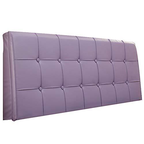 Cuscino per schienale letto senza testiera cuscino per schienale in tessuto sfoderabile in pelle (colore : viola chiaro, dimensioni : 180 * 5 * 58cm)