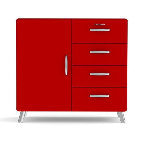 Tenzo 4935-028 Cobra Designer Kommode / Sideboard, MDF lackiert, 92 x 98 x 43 cm, rot
