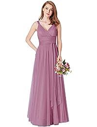 Ever-Pretty Women's Floor Length A Line Empire Feminine V Neck Sleeveless Bridesmaid Dresses 07303