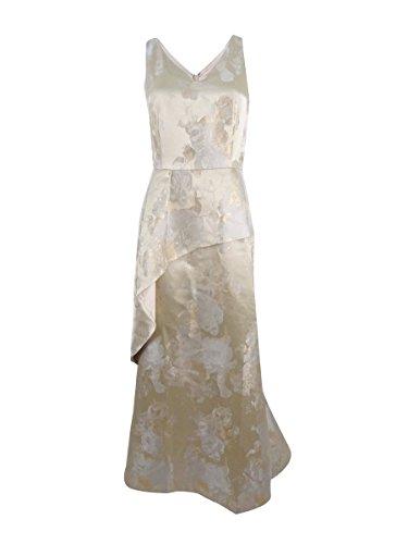 Tahari ASL Womens Metallic Jacquard Evening Dress