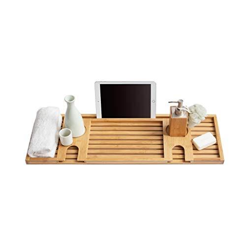 Plateau en bambou de baignoire, support de baignoire de support de stockage de caddy, pont de baignoire de bougeoir en verre de vin de livre de lecture, 74 x 25 cm, adapté au stockage de salle de bain