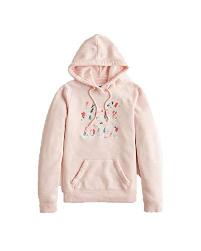 02af686ca4 Hollister New Abercrombie Floral Embroidered Logo Hoodie Girl \ Women Pink  Graphic Hoodie Size : Small/S