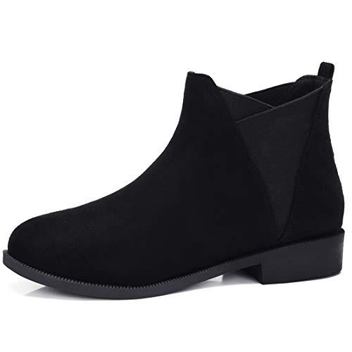 CAMEL CROWN Chelsea Boots Damen Ankle Boots Slip-On Stiefeletten Flache Blockabsatz Stiefel Klassisch Komfortable Rutschfest für Daily Casual Schwarz Taupe Beige