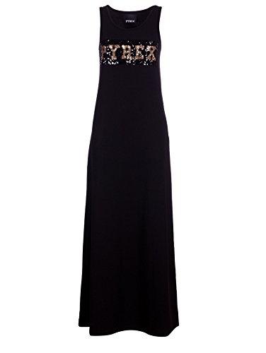 pyrex-abito-lungo-cotone-nero-logo-con-paillettes-m