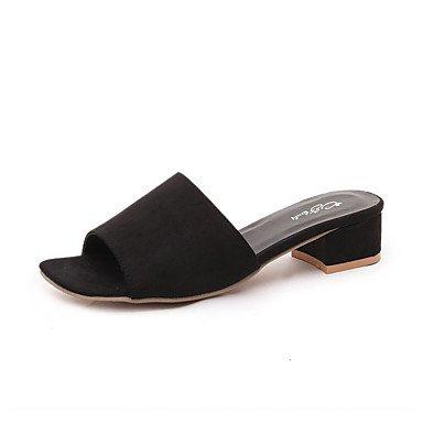 LvYuan Damen-Sandalen-Lässig-PU-Niedriger Absatz-Komfort-Schwarz Grau Khaki Black