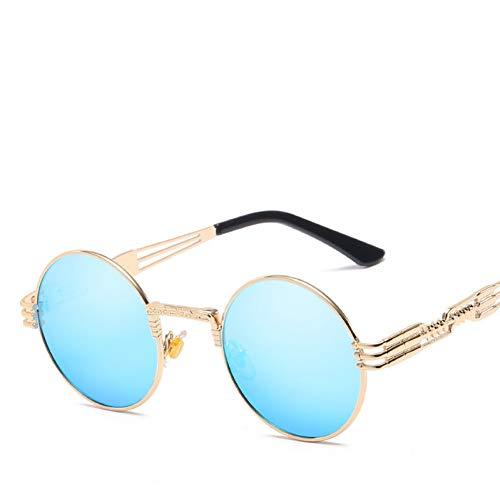 WZYMNTYJ Luxus Metall Sonnenbrille Frauen Runde Sonnenbrille Steampunk Beschichtung Gläser Vintage Retro Männliche Sonnenbrille UV400