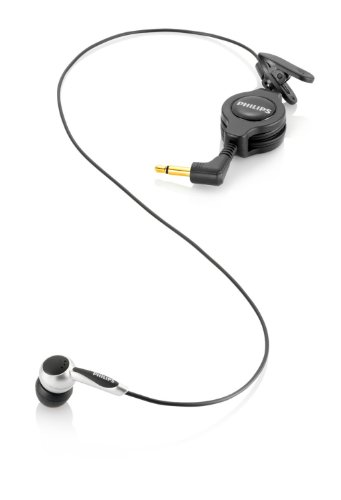 Philips LFH9162 Mikrofon zum Mitschneiden von Telefonaten, 3,5 mm Klinke, Kabellänge 1,1 m, incl. Adpater 2,5 mm auf 3,5 mm, schwarz