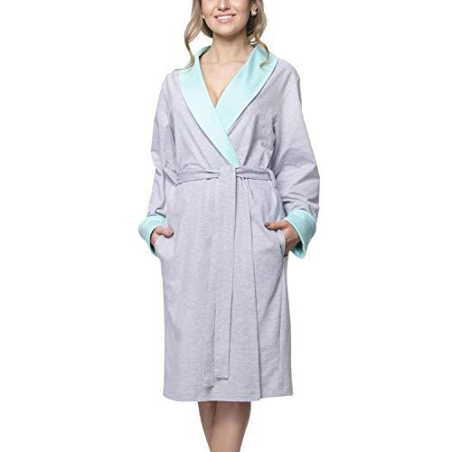 Aquarti Damen Morgenmantel mit Taschen - Kimono, Farbe: Melange/Mint, Größe: 2XL
