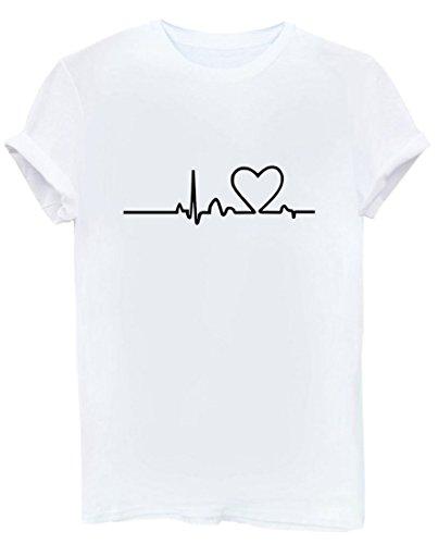 Happygo donna estate mode casual manica corta t-shirt girocollo casual sciolto funny stampa maglietta tinta unita camicie shirt top tee bianco large