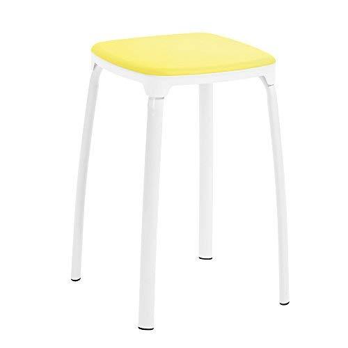 Sgabello colorato in metallo robusto, piccola sedia, impilabile, set da 6pezzi, colore verde yellow