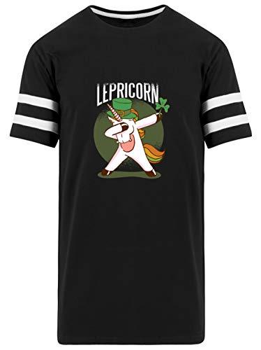 Einhorn Kobold Geschenk - Herren Striped Long Shirt -L-Schwarz
