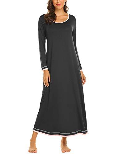 Brinol Damen Nachthemd Sleepshirt Schlafanzug Lang Ärmeln Locker Nachtwäsche Kontrastfarbe voller Länge Nachtkleid (S-XXL) - Womens Lounge L/s Shirt