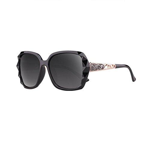 Sunny Honey Women's Polarized Sonnenbrille - Diamond-Mounted großen Spiegelrahmen UV-Schutz - Lassen Konturen des Gesichts schöner (Farbe : Classic Black) Womens Black Honey