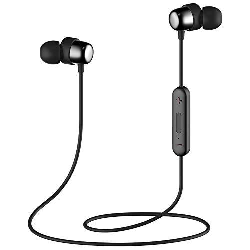 Bluetooth In-Ear Sport Kopfhörer HAVIT V4.2 IPX5 Schweißresistent Stereo magnetischer Sport Ohrhörer mit 7-10 Stunden Spielzeit, eingebautes Mikrofon für iPhone, Huawei und Samsung (I39,Schwarz)