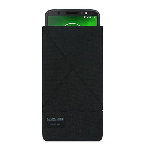 Adore June Motorola Moto G6 Hülle, Tasche [Serie Triangle] Original Cordura [Schwarz] Handytasche aus widerstandsfähigem Textil-Stoff [Display-Reinigungseffekt] (G6 Stoff-tasche)
