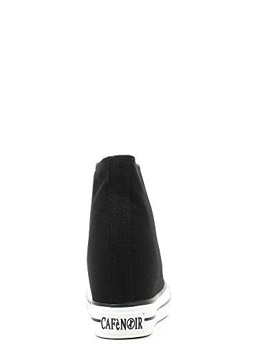 Cafènoir DG900 sneakers in canvas allacciate alte con zeppa interna Nero