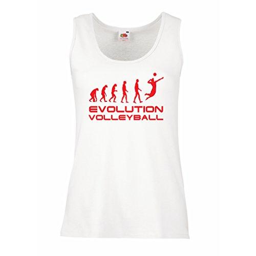 lepni.me Serbatoio,Maglietta Senza Maniche Femminile Evolution Volley - Abbigliamento da Spiaggia, Indoor, Outdoor Vball Bianco Rosso