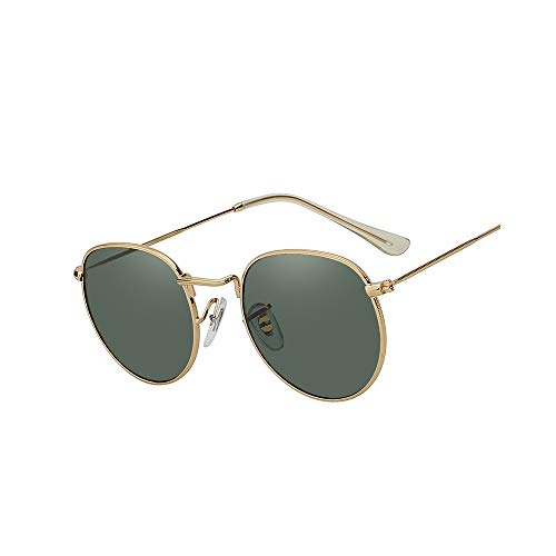 WJFDSGYG Oval Shaed Metall Sonnenbrille Männer Frauen Designer Spiegel Objektiv Sonnenbrille Uv400