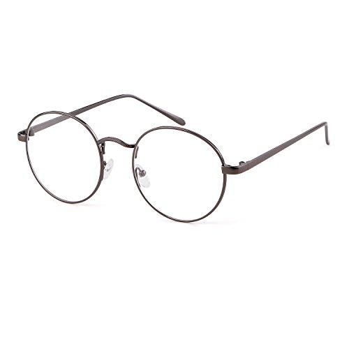 ADEWU Retro Nerdbrille Klassisches Rund Rahmen Glasses Damen Herren (Grau)