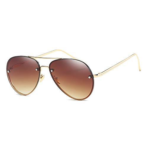 Tianzhiyi Draussen Fashion Aviator Sonnenbrille mit reflektierender verspiegelter Sonnenbrille mit UV-Schutz Designer für Unisex-Männer und Frauen - Goldrahmen mit brauner Linse
