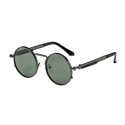 Damen Herren Retro Metallrahmen Runden Sonnenbrillen UV400 Brillen Gläser Mode Outdoor Sommer Strand (E)